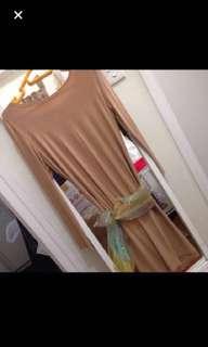 BCBG gold glitter speckled chained back dress