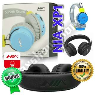 DSP Processing Bluetooth Headset NIA XP1  Authentic NIA XP1 Wireless Stereo Bluetooth Headphones Which Support App Control - Downloadable Via Android Play Store Or Apple iOS Store.