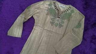Baju koko details hijau pastel size L