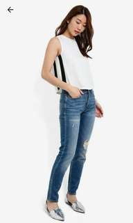 BN Zalora Boxy Cropped Top with Contrast Side Panels
