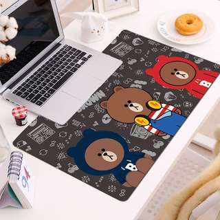 Line Brown bear XL Large Mousepad