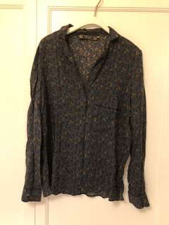 Zara open collar sleepwear shirt 睡衣款 腰果花 恤衫 (oversized)