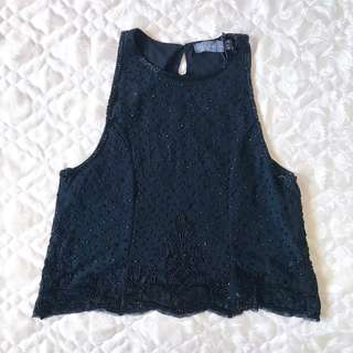 [Brandnew] Beaded Black Top