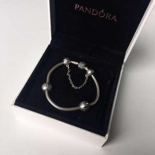 Authentic Pandora Bracelet (size 17, with clips)