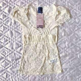 [Brandew] Zara White Lacey Top