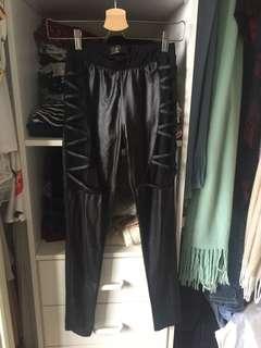 Leather look leggings x3