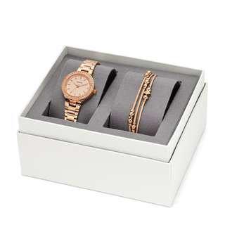 Authentic Fossil watch and bracelet set