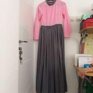 Long dress pink abu baju lebaran