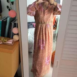 Long dress Baju muslim lebaran pink