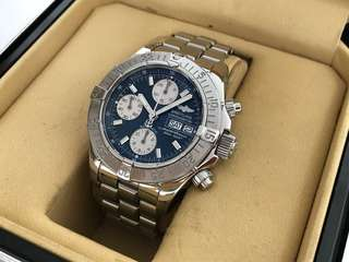 ORIGINAL BREITLING SUPEROCEAN BLUE AUTOMATIC CHRONOGRAPH DAYDATE 500M 42MM