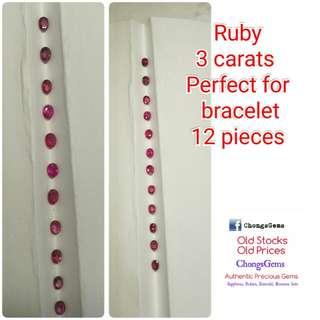 3 carats 12 pieces Ruby set for bracelet