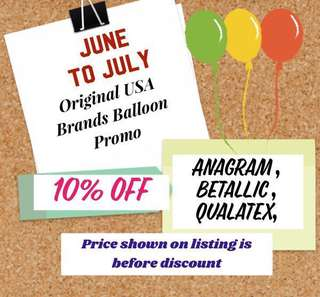 Promotion : 10% off on the original Anagram / Betallic / Qualatex Foil balloon( Prices shown in listing is before discount) available for deflated / helium inflated