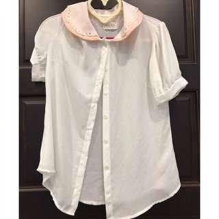 🚚 賠售出清 正韓空運清新氣質學院風 法式娃娃領白雪紡襯衫