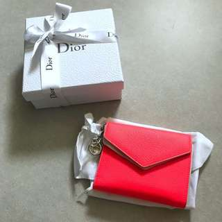 Dior Diorissimo fluorescent orange flap wallet 銀包