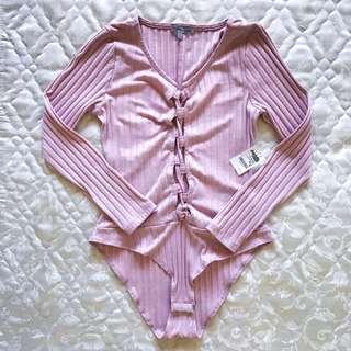 [Brandnew] Charlotte Russe Pink Longsleeves Bodysuit