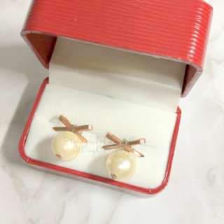 MADE IN KOREA Pretty Rose Gold Bow Pearl Earrings