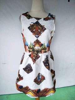 Dress import Putih motif