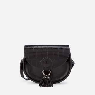 The Cambridge Satchel Company - Mini Tassel Bag in Patent Croc Leather - Black Patent Croc