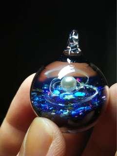 🌍特別版 珍珠 寶藍色透粉紫星石月亮星星銀河星空球吊墜 宇宙玻璃項鏈 一球一世界