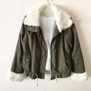 Olive Green x White Fur Jacket