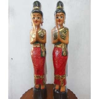 Repriced antique vintage repro Thai ladies standing