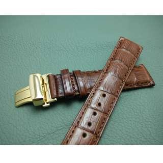 19mm錶帶 20mm錶帶 21mm錶帶 100%真鱷魚皮 ROLEX TUDOR IWC OMEGA (ref:1921鱷魚啡色竹節)