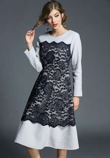 Long-Sleeve: Quality Round Neck Lace Splicing Wool Thick Dress (S / M / L / XL) - OA/MKD110614