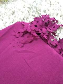 Pashmina rumbai bunga (ungu)