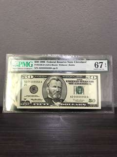USA 1996 $50 Solid 5555550