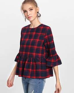 Checkered frill sleeve blouse