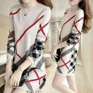 🍃Bulberry Inspired Long Sleeve Dress