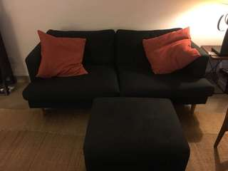 Fabric sofa and ottoman