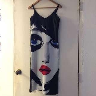 TBC Long Black Maxi Dress With Print
