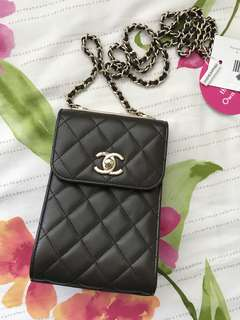Chanel Lambskin Quilted Phone Holder (Brown)