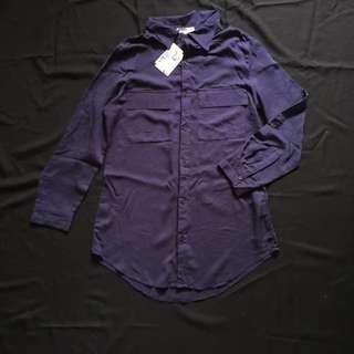 TBC Navy Blue Long & Loose Boyfriend Shirt