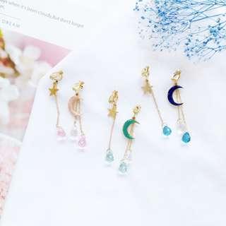 【現貨】星星月亮珍珠吊墜垂墜耳鉤耳夾式耳環
