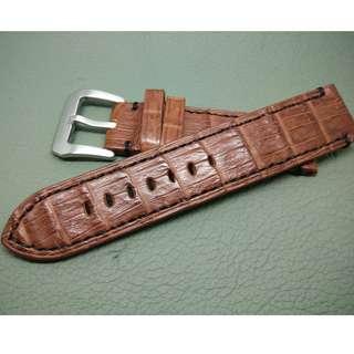 20mm錶帶 100%真鱷魚皮 ROLEX TUDOR IWC OMEGA (ref:2020鱷魚竹節平面啡色)