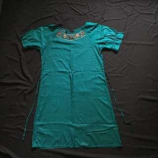 Teal Green Island Summer Loose Dress