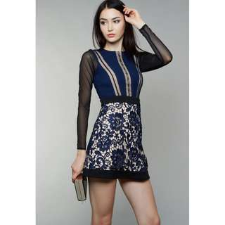 MDS Rayna Dress in Navy Lace