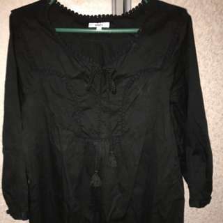 Authentic Bossini 3/4 Sleeves All Black Top Size Large