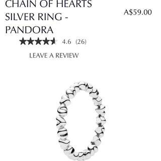 Pandora Chain Of Hearts Silver Ring