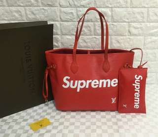 Louis Vuitton Supreme Red Neverfull