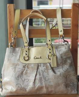 Authentic Coach Signature Ashley Horse & Carriage Sateen Two-way Carryall
