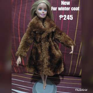 Fur winter coat for barbie