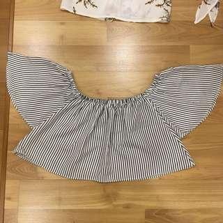 off shoulder stripes top