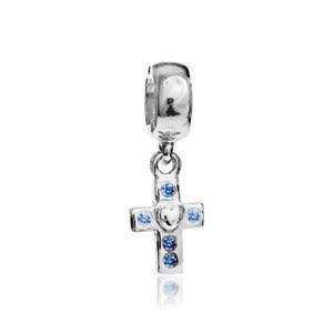 Sterling Silver Pandora Cross with Blue Cubic Zirconia Charm - Antique