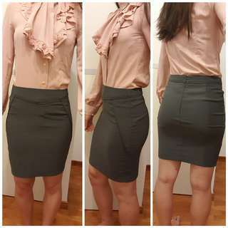 BNWOT TEMT Grey Pencil Midi Knee Length Skirt Office Corporate Work ✔
