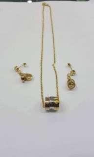 10K Dubai Signature Necklace and Earrings Set