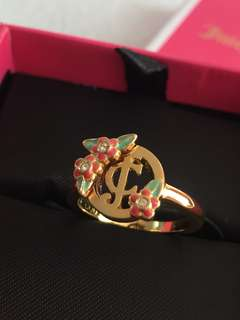 Juicy Couture flower JC logo ring