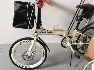 "Hachiko Model HA-04, 20"" Foldable Bicycle Folding Bike White Color @sunwalker"